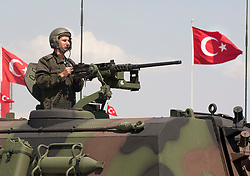 © licensed to London News Pictures. ANKARA, TURKEY  30/08/11. Turkish soldier at the parade for 30th August Turkish Victory Day celebrations in capital Ankara. Please see special instructions for usage rates. Photo credit should read TOLGA AKMEN/LNP