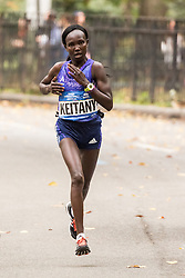 Mary Keitany, Kenya, all alone in Central Park  near mile 24
