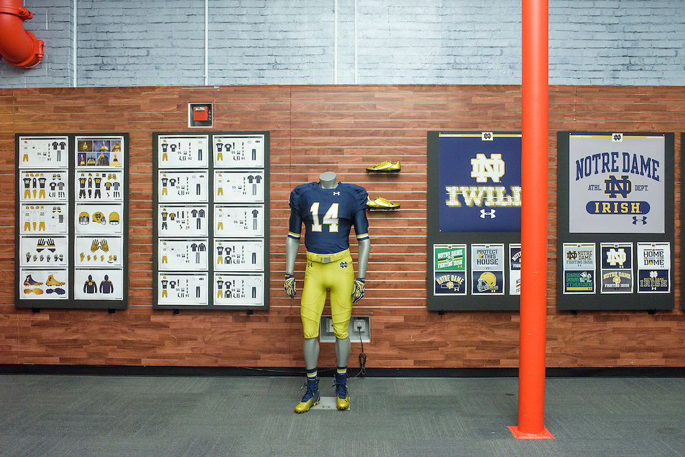 Baltimore, Maryland - September 03, 2014: The&quot;War Room&quot; in Under Armour's Cheer Building showcases graphics boards, uniform line art and clothing used in Under Armour's new contract with Notre Dame. The Under Armour Campus is located in the Tide Point area of Baltimore's Inner Harbor.<br /> <br /> Under Armour has contracted to uniform Notre Dame football.<br /> <br /> CREDIT: Matt Roth for The New York Times<br /> Assignment ID: 30163152A