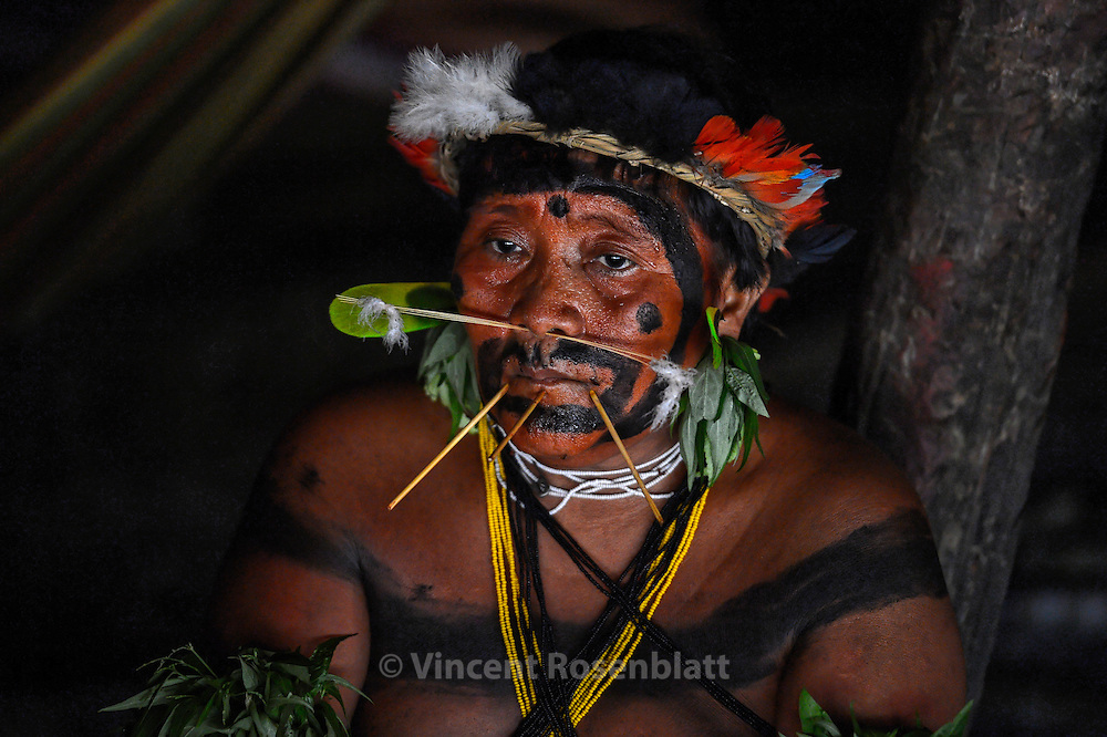 Yanomami man under the effect of the powder of Yãkoana . These natural extracts are close to the effect of LSD, provoques a visionary trance during which they call  the images of dancing-spirits the xapiripë.