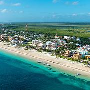 Aerial view of Puerto Morelos in the Riviera Maya. Mexico.
