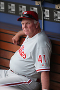 LOS ANGELES, CA - JUNE 30:  Charlie Manuel #41 of the Philadelphia Phillies looks on from the dugout before the game against the Los Angeles Dodgers on Sunday, June 30, 2013 at Dodger Stadium in Los Angeles, California. The Dodgers won the game 6-1. (Photo by Paul Spinelli/MLB Photos via Getty Images) *** Local Caption *** Charlie Manuel