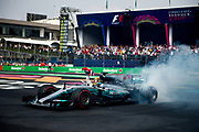 October 27-29, 2017: Mexican Grand Prix. Lewis Hamilton (GBR), Mercedes AMG Petronas Motorsport, F1 W08 does donuts in celebration of winning his 4th world driver's championship.