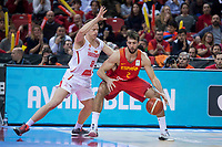 Spain Nacho Llovet and Montenegro Sead Sehovic during European Qualifiers to China 2019 World Cup match between Spain and Montenegro at Principe Felipe Stadium in Zaragoza , Spain. February 22, 2018. (ALTERPHOTOS/Borja B.Hojas)