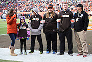 A group of NFL Play 60 participants are introduced to fans during the Cleveland Browns NFL week 14 regular season football game against the Indianapolis Colts on Sunday, Dec. 7, 2014 in Cleveland. The Colts won the game 25-24. ©Paul Anthony Spinelli
