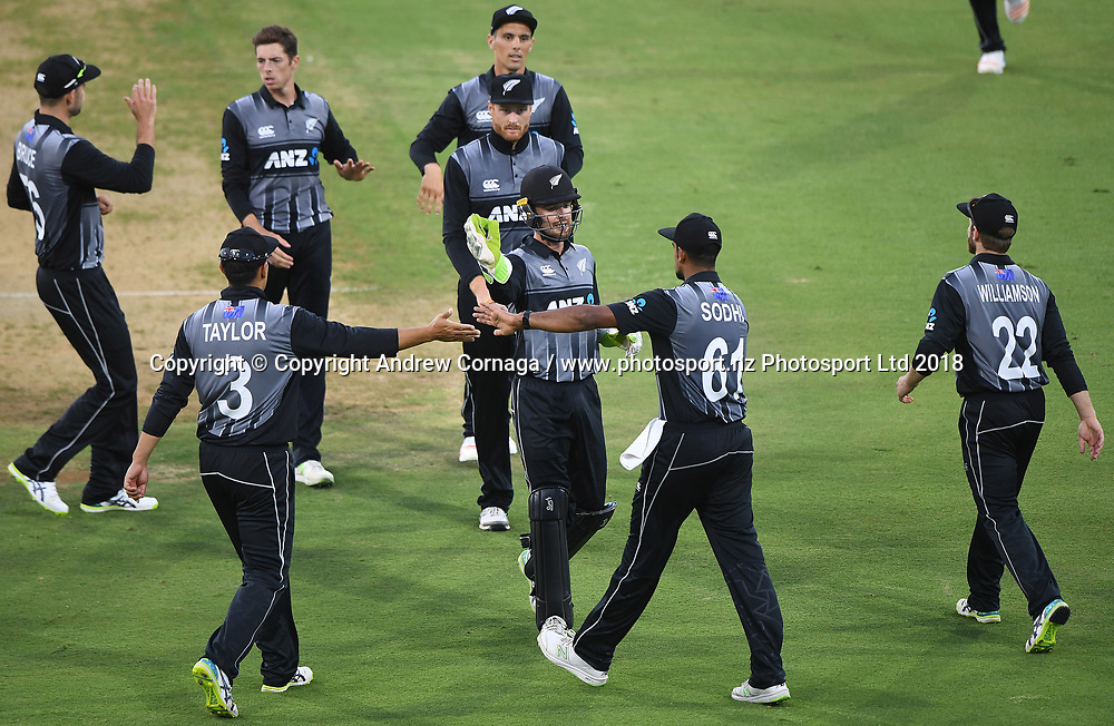NZ players celebrate a wicket to Santner.<br /> Pakistan tour of New Zealand. T20 Series. 3rd Twenty20 international cricket match, Bay Oval, Mt Maunganui, New Zealand. Sunday 28 January 2018. &copy; Copyright Photo: Andrew Cornaga / www.Photosport.nz
