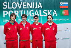 Team Portugal: Joao Sousa, Gastao Elias, Rui Machado, Frederico Silva   during press conference of Davis Cup Slovenia vs Portugal competition on January 28, 2014 in BTC City, Ljubljana, Slovenia. Photo by Vid Ponikvar / Sportida