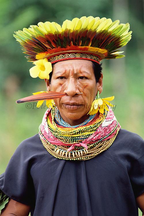 Cofan Indian in traditional dress<br />Dureno, Ecuadorian Amazon<br />ECUADOR <br />SOUTH AMERICA