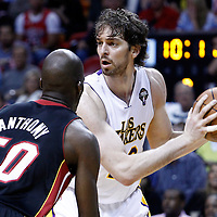 10 March 2011: Miami Heat center Joel Anthony (50) defends on Los Angeles Lakers power forward Pau Gasol (16) during the Miami Heat 94-88 victory over the Los Angeles Lakers at the AmericanAirlines Arena, Miami, Florida, USA.