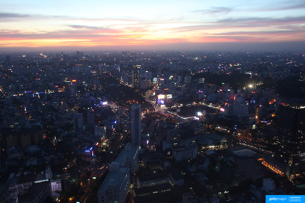 The view of Ho Chi Minh City at sunset from the viewing level of The Bitexco Financial Tower in Ho Chi Minh City, Vietnam. 3rd March 2012. Photo Tim Clayton