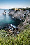 From the pa site overlooking Te Pare Point Historic Reserve on Hereheretaura Peninsula, you can see the beautiful steep cliffs that make up much of the coastline of Coromandel, New Zealand.