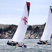 NEWPORT, RHODE ISLAND- OCTOBER 22:  The Belgium team of Alec Bague and Wirtz Morgan, (left) and the Spanish team of Nil Das Romero and Jordi Llena Prats in action during the Red Bull Foiling Generation World Final 2016 on October 22, 2016 in Narragansett Bay, Newport, Rhode Island. (Photo by Tim Clayton/Corbis via Getty Images)