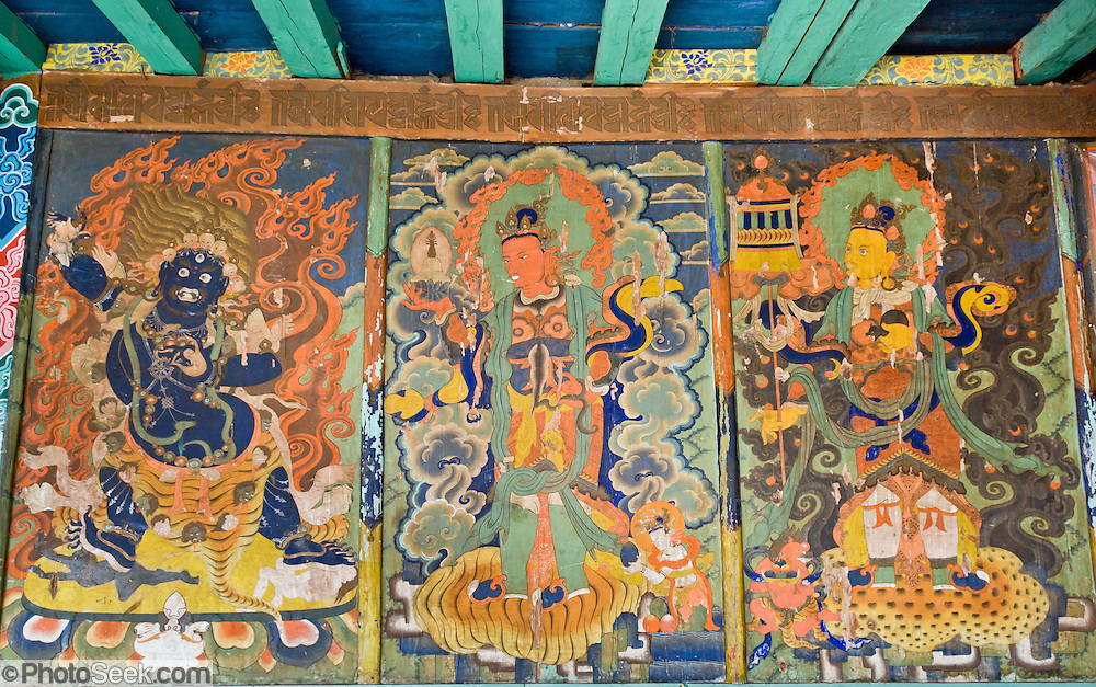 Art work decorates Pangboche Gompa (temple), in Nepal. Buddhism became firmly established in Nepal's Khumbu District (home of the Sherpa people) about 350 years ago by the power and influence of Lama Sangwa Dorje. He established the oldest monastery in Khumbu at Pangboche (plus many other small hermitages). Sagarmatha National Park was created in 1976 and honored as a UNESCO World Heritage Site in 1979.