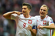 Warsaw, Poland - 2017 September 04: (L) Robert Lewandowski and (R) Kamil Grosicki both from Poland  celebrate after scoring during soccer match Poland v Kazakhstan - FIFA 2018 World Cup Qualifier at PGE National Stadium on September 04, 2017 in Warsaw, Poland.<br /> <br /> Adam Nurkiewicz declares that he has no rights to the image of people at the photographs of his authorship.<br /> <br /> Picture also available in RAW (NEF) or TIFF format on special request.<br /> <br /> Any editorial, commercial or promotional use requires written permission from the author of image.<br /> <br /> Mandatory credit:<br /> Photo by &copy; Adam Nurkiewicz / Mediasport