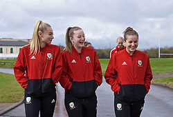 CARDIFF, WALES - Thursday, April 4, 2019: Wales' Charlie Estcourt (L), Anna Filbey (C) and Megan Wynne (R) during a pre-match team walk at the Vale Resort ahead of an International Friendly match between Wales and Czech Republic at Rodney Parade. (Pic by David Rawcliffe/Propaganda)