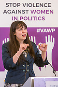 Womack (Deputy Leader, Green Party of England and Wales) Session 8: RECOMMENDATIONS TO PROTECT WOMEN'S RIGHT TO PARTICIPATE IN POLITICS FREE FROM VIOLENCE 'Violence Against Women in Politics' Conference, organised by all the UK political parties in partnership with the Westminster Foundation for Democracy, 19th and 20th of March 2018, central London, UK.  (Please credit any image use with: © Andy Aitchison / WFD