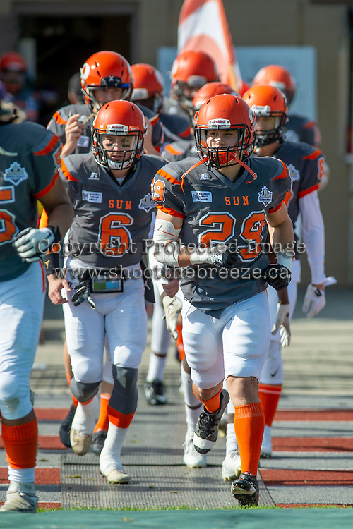KELOWNA, BC - OCTOBER 6: The Okanagan Sun run onto the field against the VI Raiders for the final BCFC regular season game at the Apple Bowl on October 6, 2019 in Kelowna, Canada. (Photo by Marissa Baecker/Shoot the Breeze)