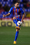 VALENCIA, SPAIN - FEBRUARY 25: Loukas Vyntra of Levante UD in action during the Liga BBVA between Levante UD and Club Atletico Osasuna at the Ciutat de Valencia stadium on February 25, 2013 in Valencia, Spain. (Photo by Aitor Alcalde Colomer).
