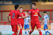 Connor Mahoney scores to make it 1-0 to Blackburn during the Barclays U21 Premier League match between U21 Brighton and Hove Albion and U21 Blackburn Rovers at the Checkatrade.com Stadium, Crawley, England on 4 April 2016.