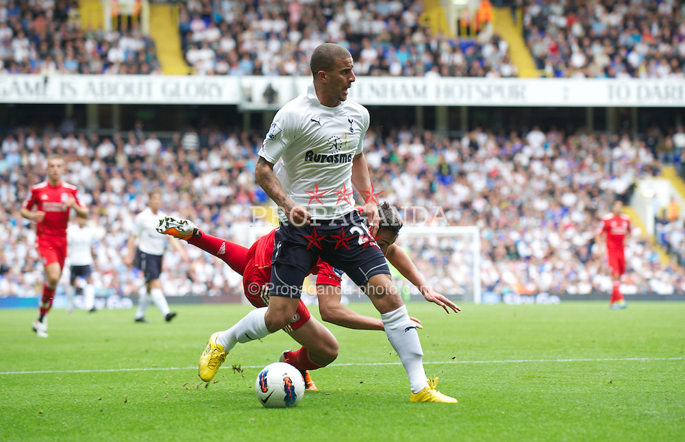 LONDON, ENGLAND - Sunday, September 18, 2011: Tottenham Hotspur's Kyle Walker and Liverpool's Jose Enrique during the Premiership match at White Hart Lane. (Pic by David Rawcliffe/Propaganda)