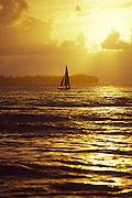 Sailboat at sunset, Hawaii<br />