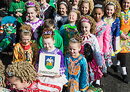 Young Irish dancers make their way to the start of  the St Patrick's Day Parade in Westminster, London.<br /> Picture by Paul Davey/Focus Images Ltd +447966 016296<br /> 13/03/2016