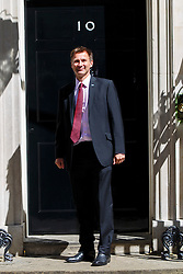 © Licensed to London News Pictures. 12/05/2015. LONDON, UK. Health Secretary Jeremy Hunt attending to the first Conservative cabinet meeting after the 2015 general election in Downing Street on Tuesday, 12 May 2015. Photo credit: Tolga Akmen/LNP