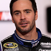 Driver Jimmie Johnson speaks with the media during the NASCAR Media Day event at Daytona International Speedway on Thursday, February 14, 2013 in Daytona Beach, Florida.  (AP Photo/Alex Menendez)