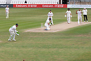 Dane Vilas edges for 4 during the Bob Willis Trophy match between Lancashire County Cricket Club and Leicestershire County Cricket Club at Blackfinch New Road, Worcester, United Kingdom on 4 August 2020.
