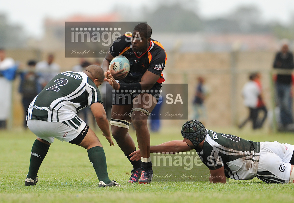 GEORGE, SOUTH AFRICA - Saturday 7 March 2015, Nqubeko Zulu of Vaseline Wanderers during the third round match of the Cell C Community Cup between Pacaltsdorp Evergreens and Vaseline Wanderers at Pacaltsdorp Sports Grounds, George<br /> Photo by Roger Sedres/ImageSA/ SARU