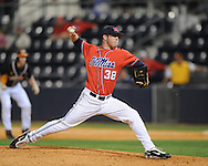 Mississippi's Brett Huber pitches vs. Tennessee college baseball at Oxford-University Stadium on Friday, April 2, 2010 in Oxford, Miss. Ole Miss won 7-3.