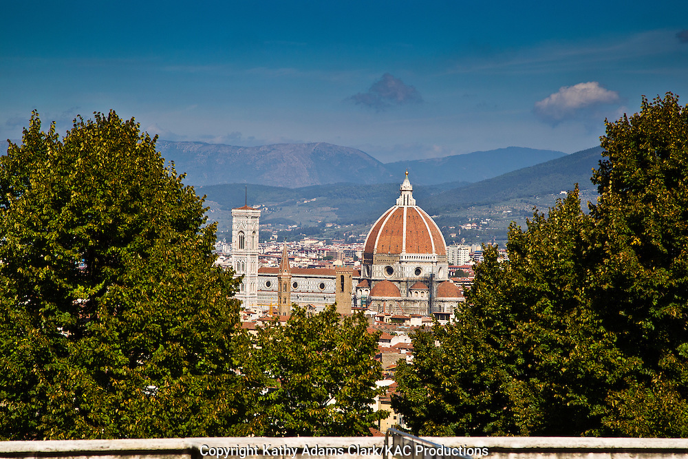 The skyline of Florence, Firenze, Italy, from the Pitti Palace, with the Duomo and Santa Maria del Fiore.