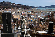Otsuchi city.View of the distroyed city from the cemetary.