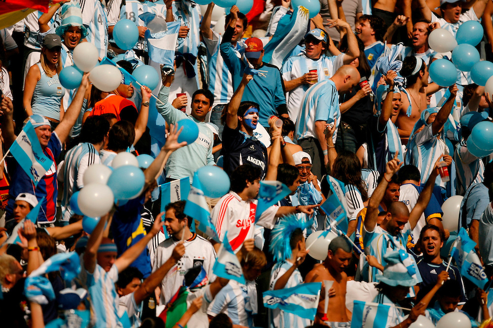 BERLIN, GERMANY - JUNE 30 , 2006.Argentina Soccer Fans during a quarter-final match of the 2006 World Cup, played between Germany and Argentina at the Olympic Stadium in Berlin, Germany.