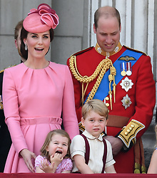 Members of The Royal Family attend Trooping the Colour at Buckingham Palace, London, UK, on the 17th June 2017. 17 Jun 2017 Pictured: Princess Charlotte, Catherine, Duchess of Cambridge, Kate Middleton, Prince George, Prince William, Duke of Cambridge. Photo credit: James Whatling / MEGA TheMegaAgency.com +1 888 505 6342