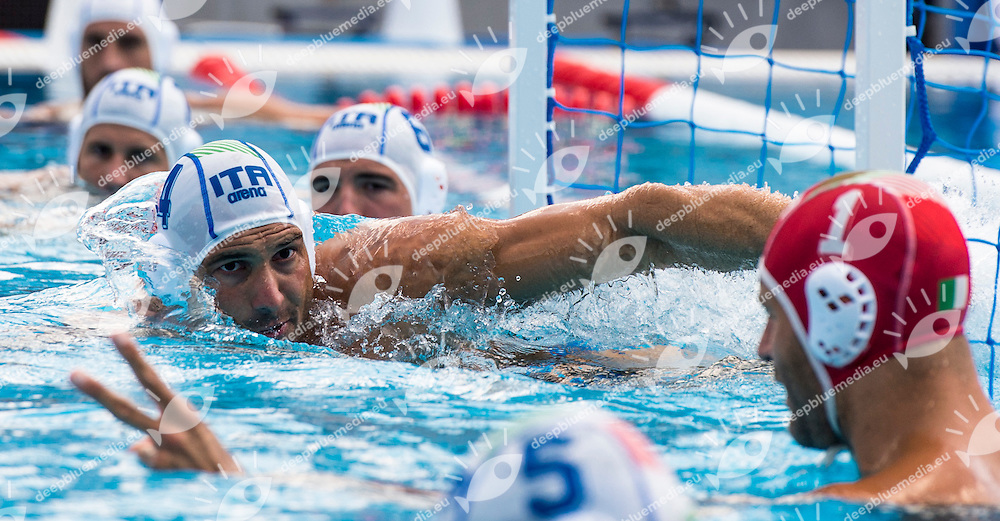 4 FIGLIOLI Pietro ITA<br /> ITA(white) vs GEO(blue) Men<br /> LEN European Water Polo Championships 2014 - July 14-27<br /> Alfred Hajos -Tamas Szechy Swimming Complex<br /> Margitsziget - Margaret Island<br /> Day04 - July 17 <br /> Photo G. Scala/Inside/Deepbluemedia