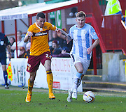 Dundee's Willie Dyer goes past Motherwell's Marvin Johnson - Motherwell v Dundee, SPFL Premiership at Fir Park<br /> <br />  - &copy; David Young - www.davidyoungphoto.co.uk - email: davidyoungphoto@gmail.com