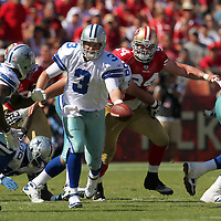 Dallas Cowboys quarterback Jon Kitna (3) during an NFL football game between the Dallas Cowboys and the San Francisco 49ers at Candlestick Park on Sunday, Sept. 18, 2011 in San Francisco, CA.   (Photo/Alex Menendez)