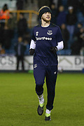 Everton midfielder Tom Davies (26) warm up during the The FA Cup fourth round match between Millwall and Everton at The Den, London, England on 26 January 2019.