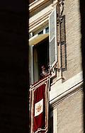 Città del Vaticano 17 Febbraio 2013.La domenica dell'Angelus  del Papa dimissionario..Papa Benedetto XVI saluta i fedeli..Vatican City,  February 17, 2013.The Sunday of the Angelus of the Pope resigning.Pope Benedict XVI greets the faithful