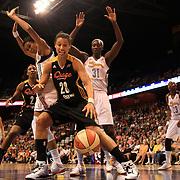 Nicole Powell, Tulsa Shock, in action during the Connecticut Sun V Tulsa Shock WNBA regular game at Mohegan Sun Arena, Uncasville, Connecticut, USA. 2nd July 2013. Photo Tim Clayton
