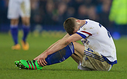LIVERPOOL, ENGLAND - Saturday, March 12, 2016: Chelsea's Gary Cahill looks dejected as his side are beaten 2-0 by Everton during the FA Cup Quarter-Final match at Goodison Park. (Pic by David Rawcliffe/Propaganda)