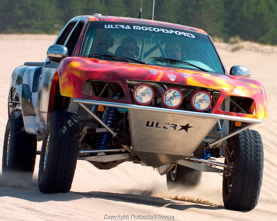 Custom built off road racing truck,by Ultra Motorsports of California,being tested at the Sandlake Dunes Recreation Area Sandlake in Oregon.  This vehicle was successfully  delivered to its new owner the next day.