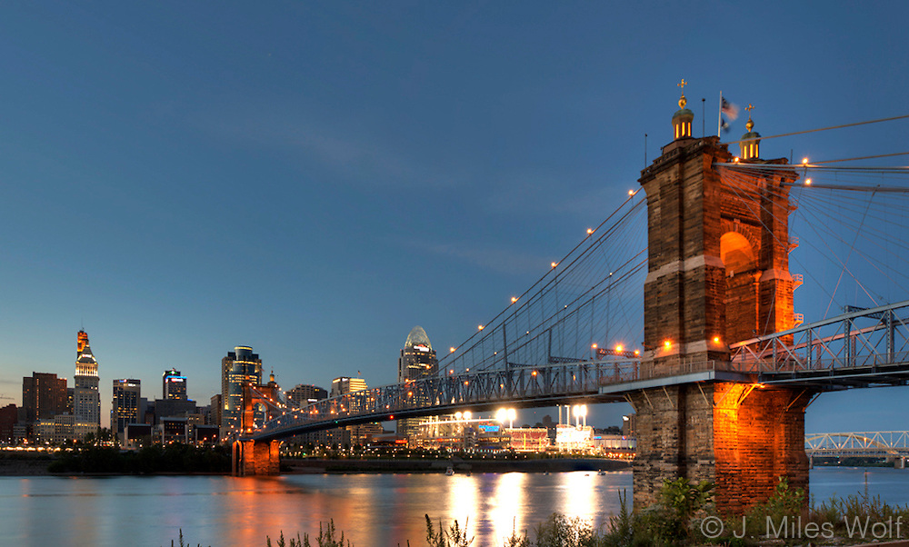 Cincinnati Skyline at twilight with the Roebling Suspension Bridge