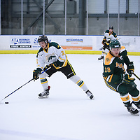 1st year forward Zak Zborosky (32) of the Regina Cougars in action during the Men's Hockey Home Game on October 28 at Co-operators arena. Credit: Arthur Ward/Arthur Images