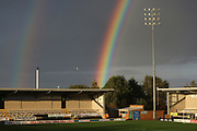 A rainbow appears at the Pirelli Stadium during the EFL Cup match between Burton Albion and Bournemouth at the Pirelli Stadium, Burton upon Trent, England on 25 September 2019.