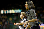WACO, TX - DECEMBER 12:  Head coach Misti Cussen of the Oral Roberts University Golden Eagles has words with her players against the Baylor University Bears on December 12, 2012 at the Ferrell Center in Waco, Texas.  (Photo by Cooper Neill/Getty Images) *** Local Caption *** Misti Cussen
