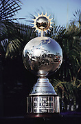 Winner's Trophy of the Pentax Solar Car Race, the first international solar-powered car race. Photographed November 1, 1987, the day of the start of the race, in Darwin, Northern Territory, Australia.  Cars raced 1,950 miles across Australia (north to south) using only solar energy to power the cars.