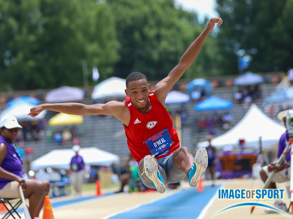 Cameron O'Neal of Biloxi High MS competes in the Boys Long Jump Finals during the New Balance Outdoor Nationals, Sunday, June 16, 2019, in Greensboro, NC. (Brian Villanueva/Image of Sport)