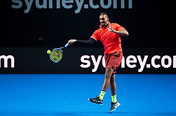 January 7, 2019 - Sydney, NSW, U.S. - SYDNEY, AUSTRALIA - JANUARY 07: Nick Kyrgios (AUS) hits a forehand at The Sydney FAST4 Tennis Showdown on January 07, 2018, at Qudos Bank Arena in Homebush, Australia. (Photo by Speed Media/Icon Sportswire) (Credit Image: © Steven Markham/Icon SMI via ZUMA Press)